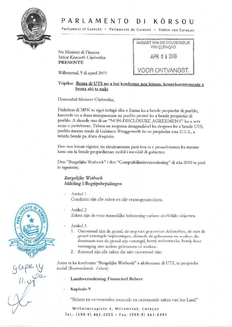 Pregunta - Na Minister Gijsbertha relashona ku benta di UTS-page-001
